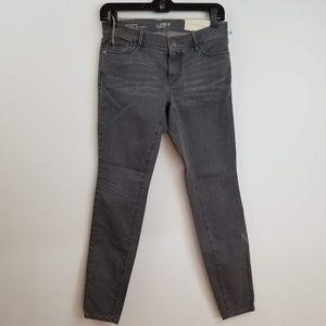 NWT LOFT gray modern super skinny jeans 4P